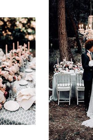 El encanto de Versalles como inspiración en la decoración de una boda romántica y chic en Mallorca.