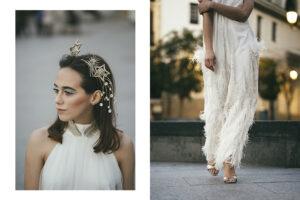 El glamour, la fantasía y el brillo protagonizan este look de novia con plumas y estrellas.