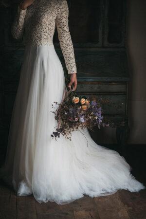 «Cendrillon éthérée», inspiración en clave lila para una palaciega boda en Asturias.